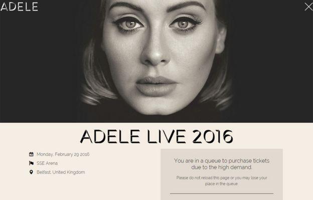 Adele website screengrab