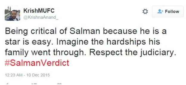 Being critical of Salman because he is a star is easy. Imagine the hardships his family went through. Respect the judiciary. #SalmanVerdict