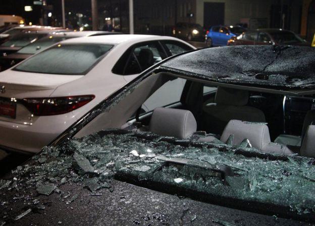 Damaged cars in Portland, Oregon, 10 November