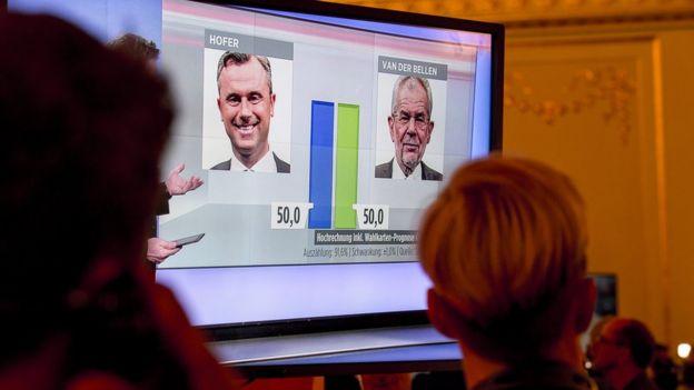 Una pantalla muestra el empate entre los dos candidatos presidenciales: Hofer y Van der Bellen.