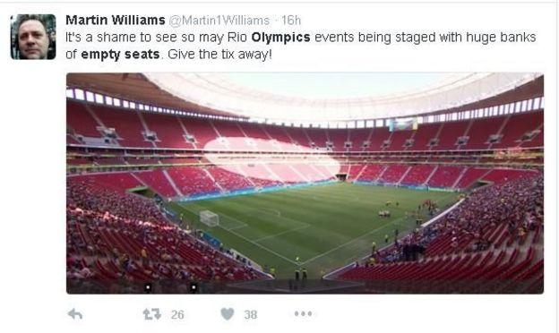 Post do usuário Martin Williams no Twitter