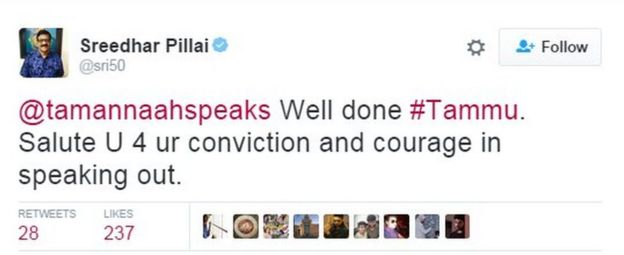 @tamannaahspeaks Well done #Tammu. Salute U 4 ur conviction and courage in speaking out.
