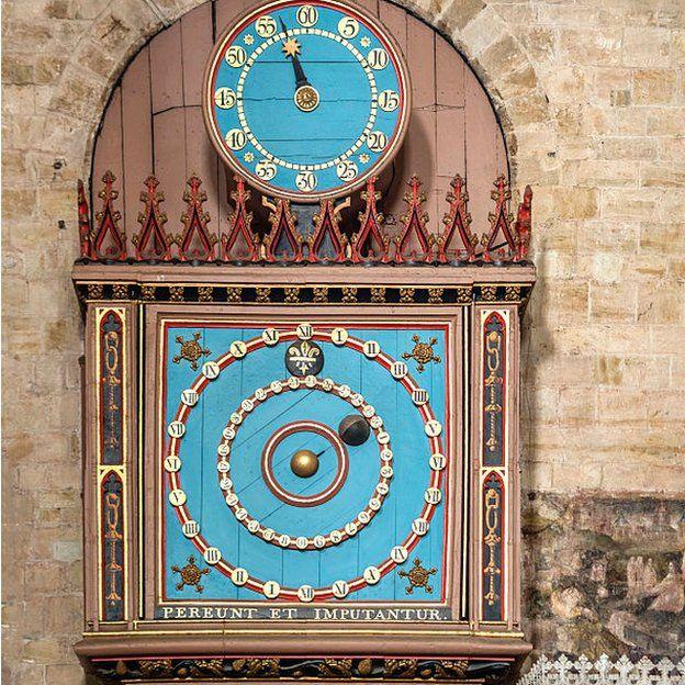 El reloj de la Tierra, la Luna y el Sol de la Catedral de Exeter