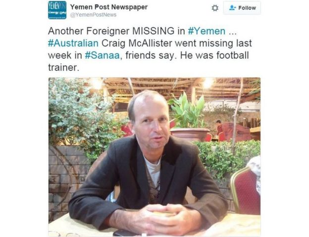 Twitter from Yemen Post newspaper with a photo of Craig Bruce McAllister reads: