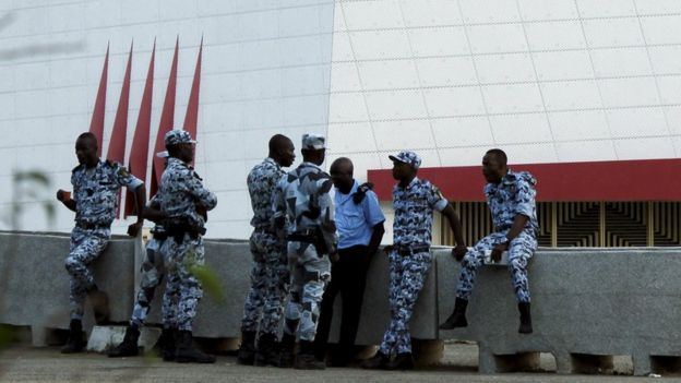 Senegalese security forces guard a hotel in the capital Dakar