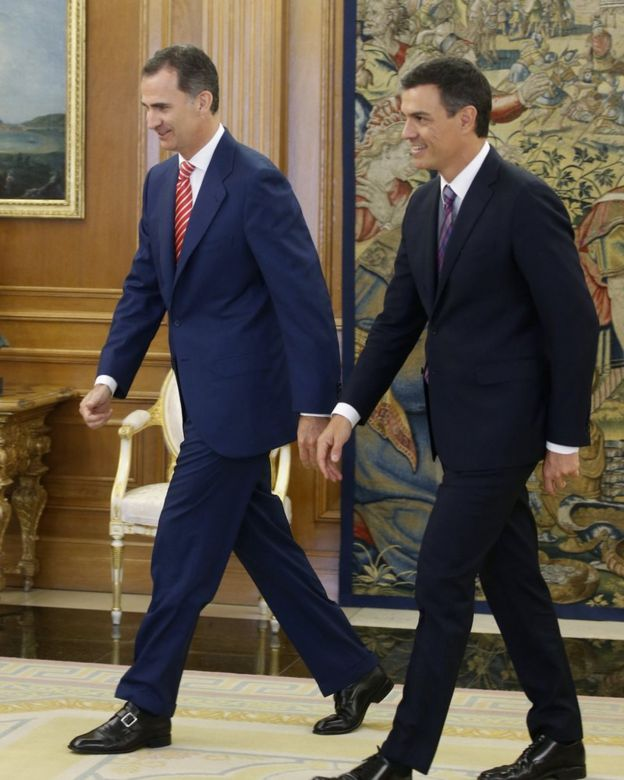 King Felipe VI with Pablo Sanchez, Socialist Party Leader
