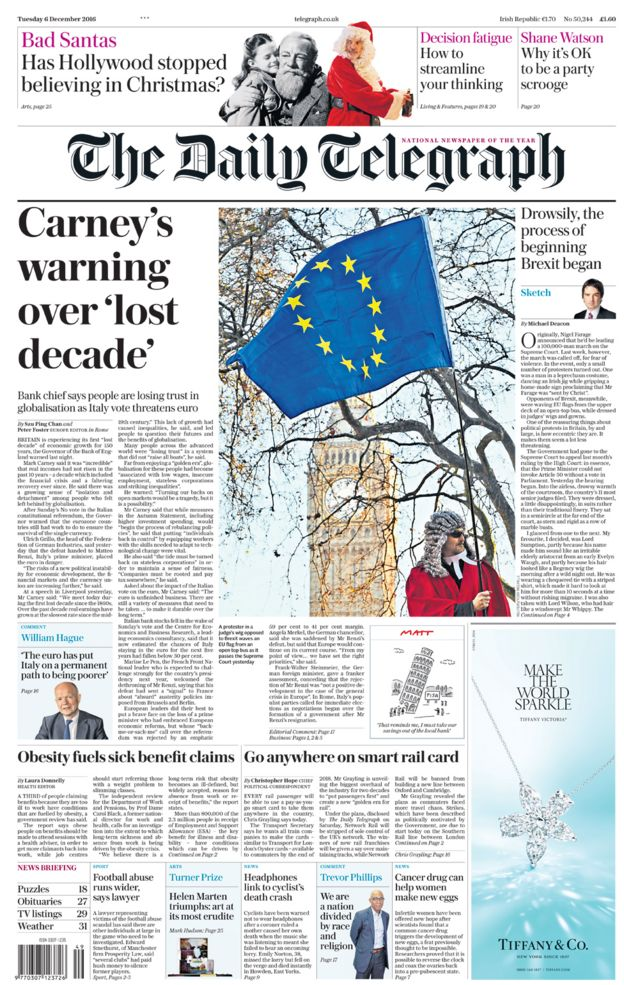 The Daily Telegraph front page - 06/12/16