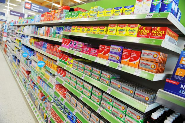 Headache drugs on supermarket/pharmacy shelf