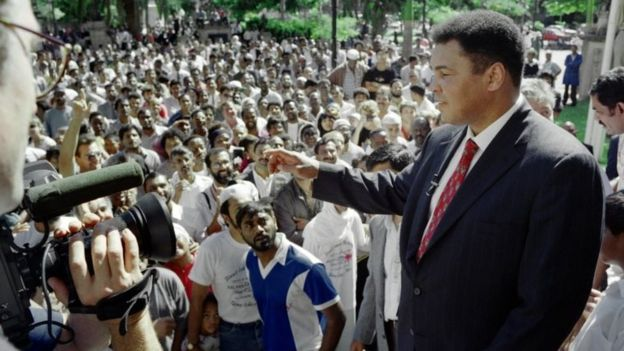 Muhammad Ali at a conference in Durban, SA, in 1993