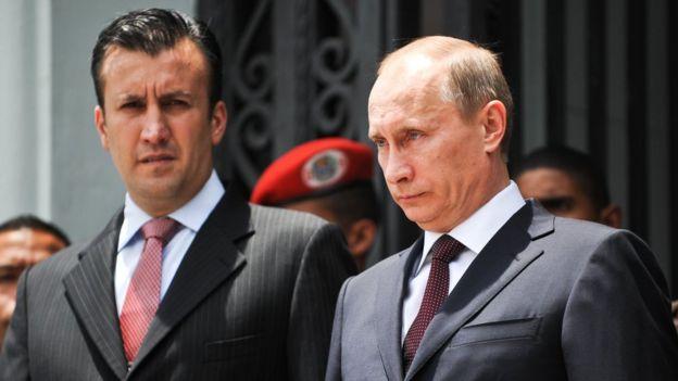 El vicepresidente de Venezuela con Putin en 2010