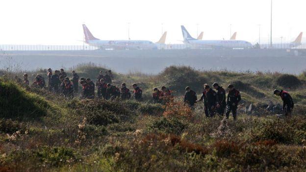 Turkish police search fields near Sabiha Gokcen airport after an explosion