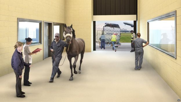Artist drawing of The ARK Development shows a horse being escorted into the new terminal.