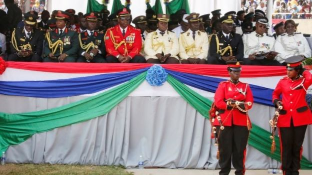 Army officers at the swearing in ceremony at the Gambia's Independence Stadium