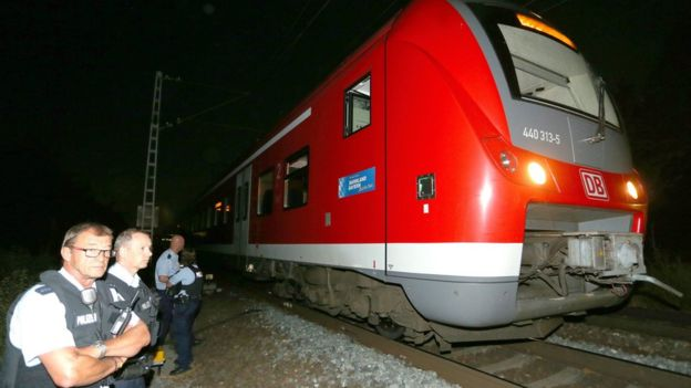 Train where the attack took place in Wuerzburg, Germany, on 18 July 2016