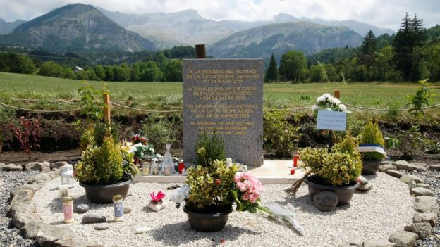 File image of monument set up in area near where Germanwings aircraft crashed in French Alps, in Le Vernet