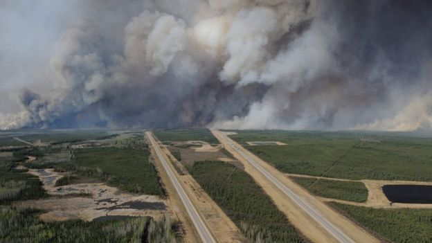 A huge wildfire burns in Alberta, Canada