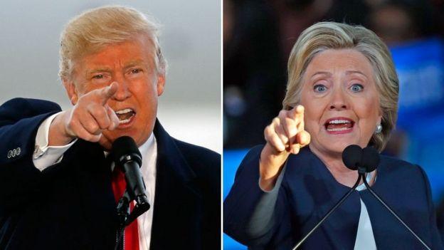 Donald Trump (kushoto), Hillary Clinton (kulia)