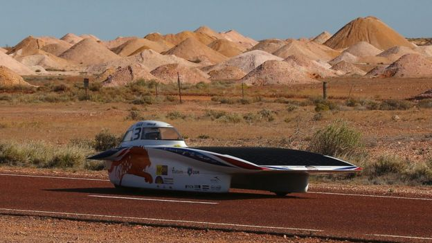 Nuna8 of Nuon Solar Team Netherlands arrive into Coober Pedy as they race on day four in the Cruiser Class of the 2015 World Solar Challenge on October 21, 2015 in Coober Pedy, Australia. Teams from across the globe are competing in the 2015 World Solar Challenge - a 3000 km solar-powered vehicle race between Darwin and Adelaide.