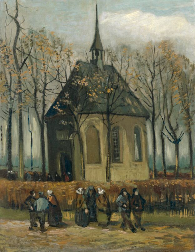 Vincent van Gogh, Congregation Leaving the Reformed Church in Nuenen, 1884 - 1885