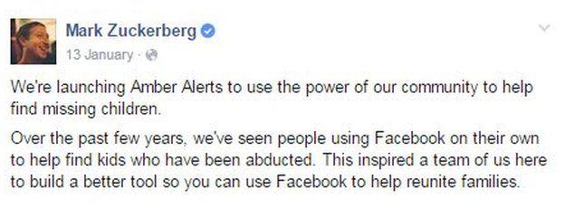 Mark Zuckerberg post