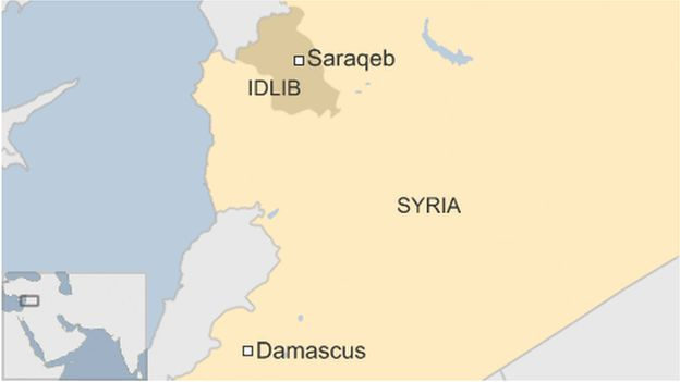 A map showing Saraqeb in Syria