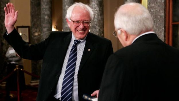 Mr Sanders is sworn in to the US Senate in 2007