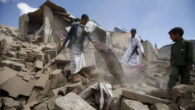 Aftermath of air strike by Saudi-led coalition in Sanaa, Yemen