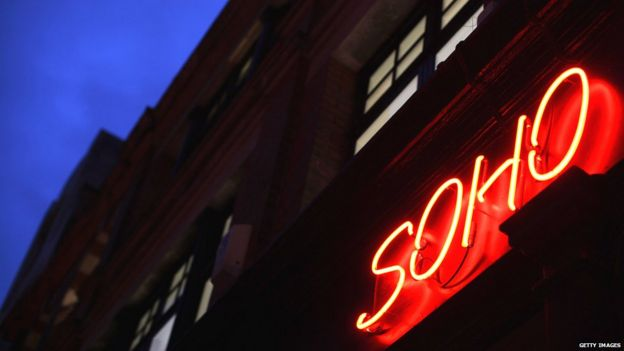 Soho sign at night
