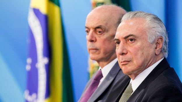 O presidente interino Michel Temer e o ministro José Serra (Relações Exteriores em evento no Planalto em 1/8/2016