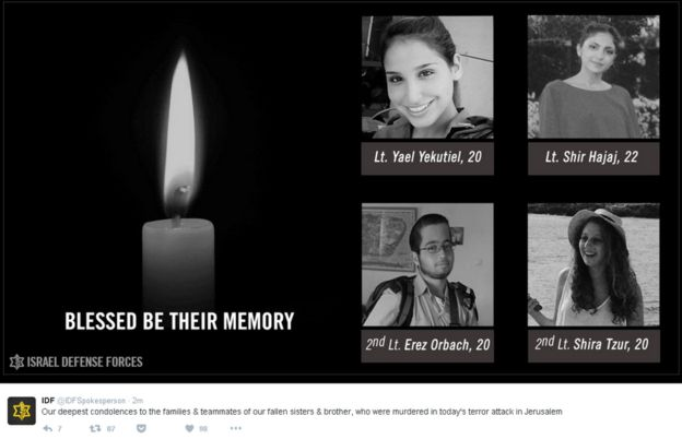 Screengrab of IDF tweet showing pictures of four soldiers who died and saying: