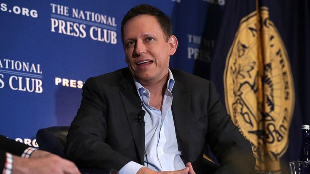 Entrepreneur Peter Thiel participates in a discussion at the National Press Club in Washington, DC.