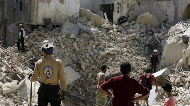 An area of Aleppo reduced to rubble by bombing