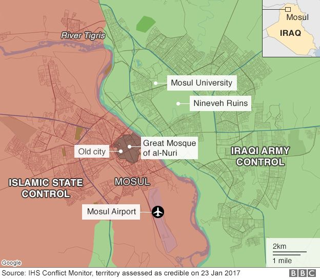 Map of Mosul city showing areas of control