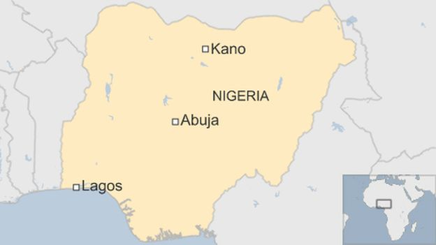 Map showing Kano, Abuja and Lagos