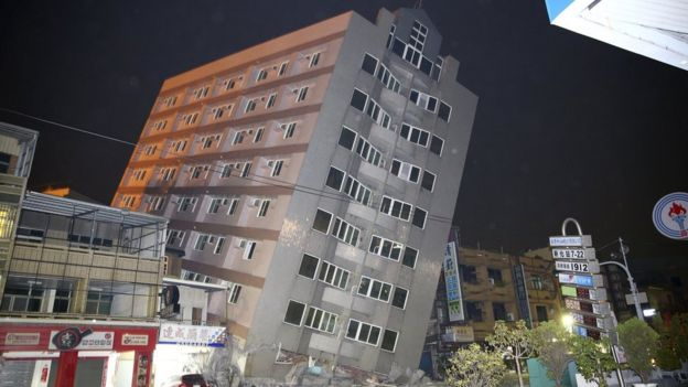 A building damaged in the quake