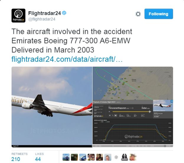 Tweet from Flightradar24 reading