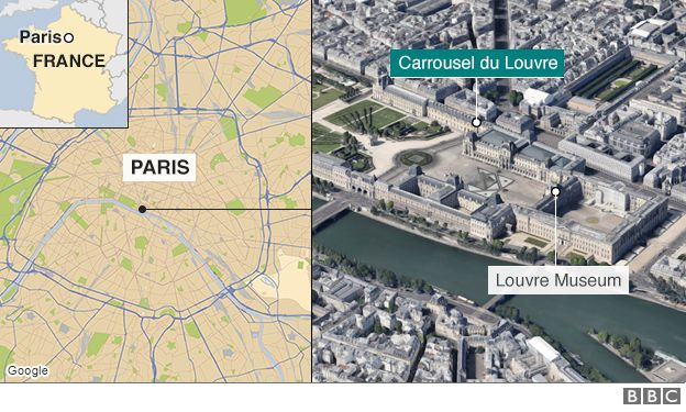 Map showing the Louvre in Paris
