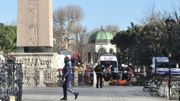 Paramedics carry dead bodies after an explosion near the Blue Mosque, in the Sultanahmet district of central Istanbul