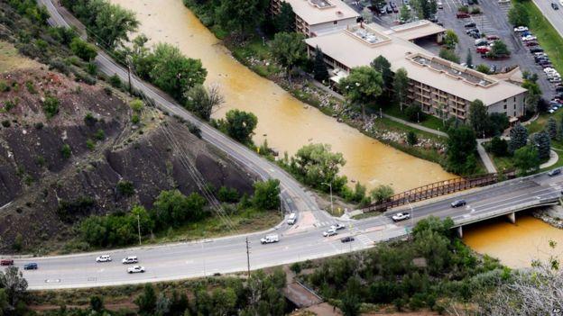A toxic sludge flows down the Animas River through Durango, Colorado, on 7 August.