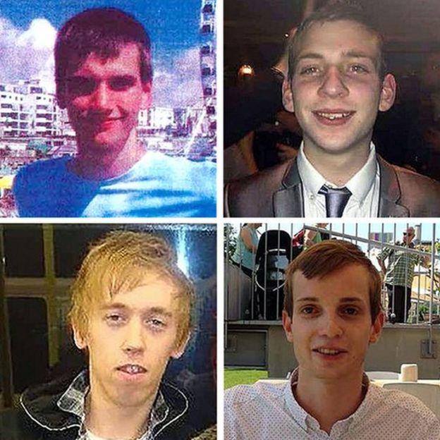 Las cuatro víctimas de Stephen Port. (De izq. a der. y de arriba a abajo) Daniel Whitworth, 21 años, Jack Taylor, 25 años, Anthony Walgate, 23 años, y Gabriel Kovari, 22 años
