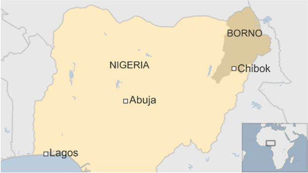 A map showing Chibok in Nigeria