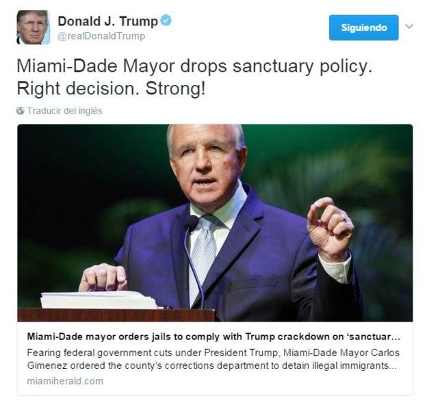 Tuit del presidente Trump felicitando al alcalde de Miami Dade por su decisión de apegarse a la orden ejecutiva presidencial en cuanto a ciudades santuario.