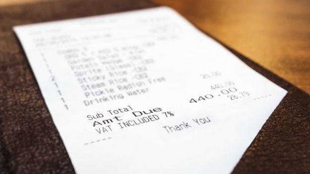 Cuenta de un restaurante