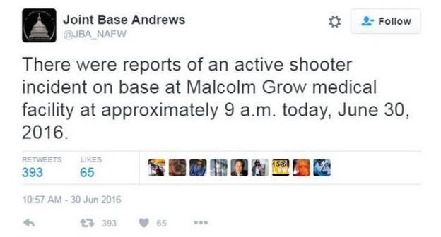 Joint Base Andrews tweet