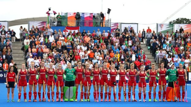 England women's hockey team line up for the national anthem before the EuroHockey final against the Netherlands in London in August
