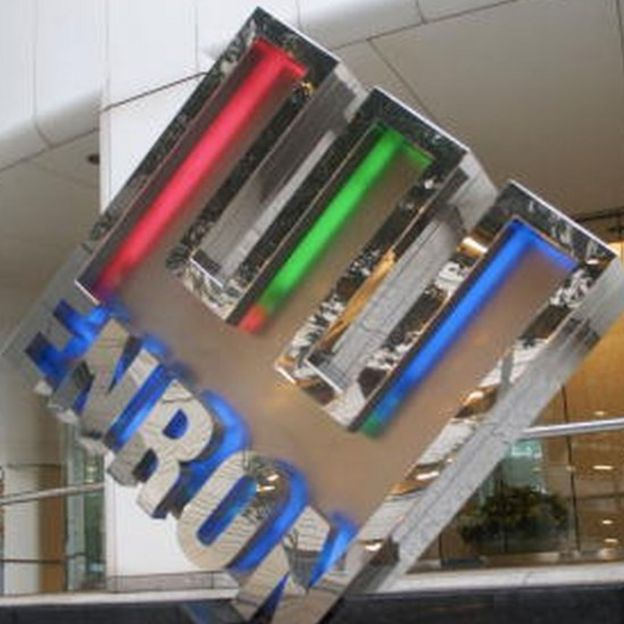 The Enron logo in front of the company's corporate headquarters in Houston, Texas (23 January 2002)