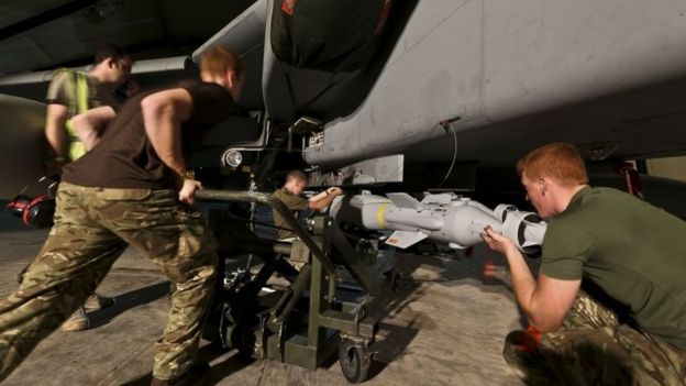 RAF Tornado GR4s at RAF Akrotiri Cyprus being armed with a Paveway IV Laser Guided Bomb (26 September 2014)