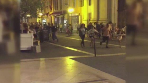 Video showed people fleeing