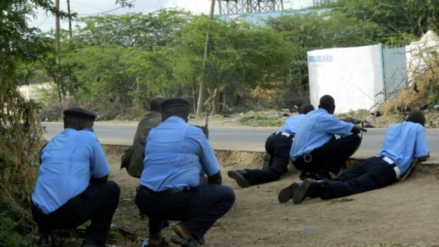 Police at Garissa university, 2 April 2015