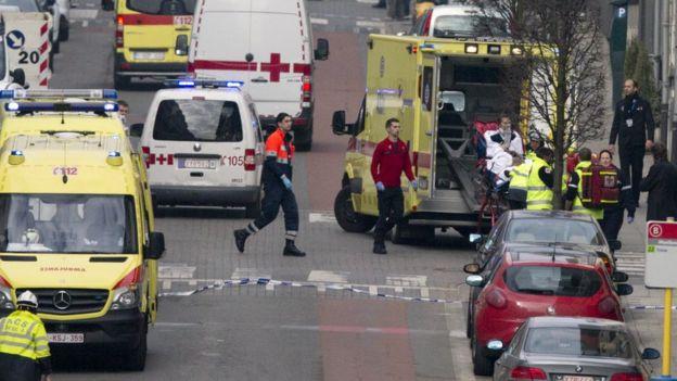 Ambulances outside Malbeek metro station